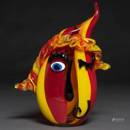 Vase en forme de masque en verre de Murano. h. 1970-8040 x 12 x 30 cms.