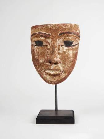 Masque.Bois sculpté à restes de polychrome.En l'état..Basse Epoque.665-332 av J.C.H :14cm.