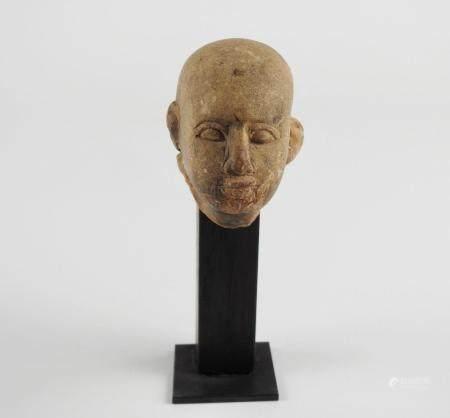 Tête de prêtre au crâne rasé.Basse Epoque.H :4cm.
