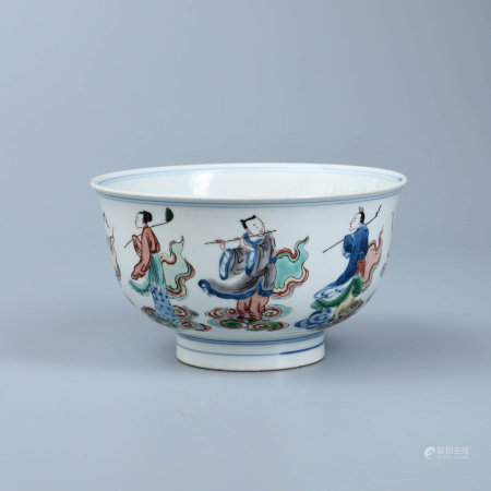 FAMILLE VERTE EIGHT IMMORTALS BOWL, JIAJING MARK