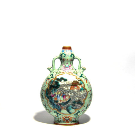 A FAMILLE ROSE WRAPPED FLORAL FIGURE BOTTLE VASE