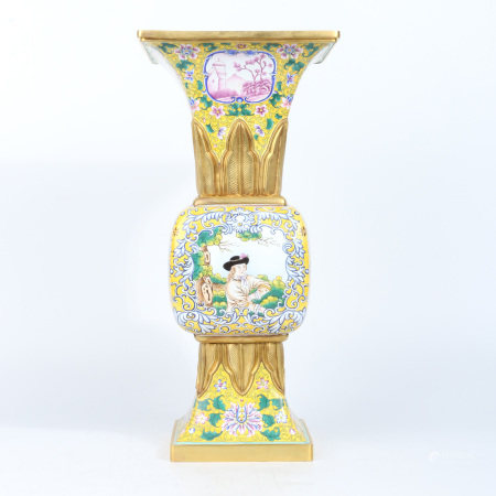 A GILT BRONZE ENAMEL PAINTED VASE