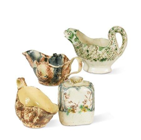 A William Greatbatch creamware tea canister,