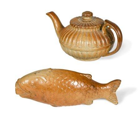 A rare salt glazed spirit flask, possibly Brampton, circa 1840,