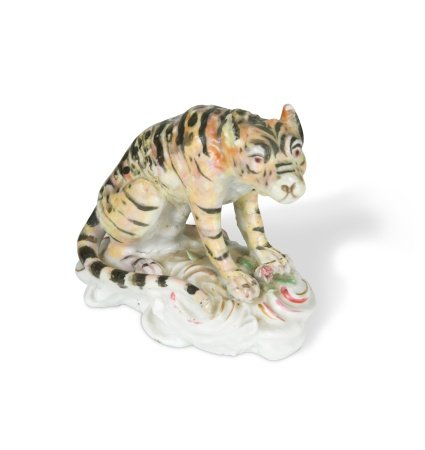 A rare Longton Hall or Vauxhall model of a tiger, c. 1755-60