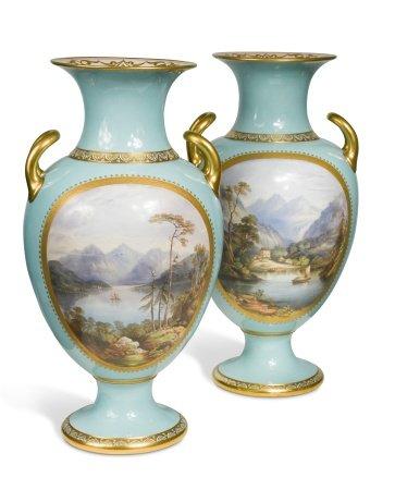 An impressive pair of Davenport two-handled vases,