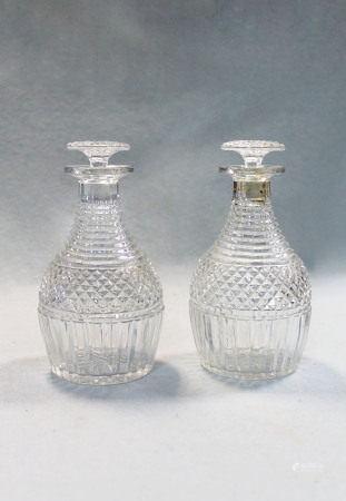 A pair of George IV small decanters and stoppers,