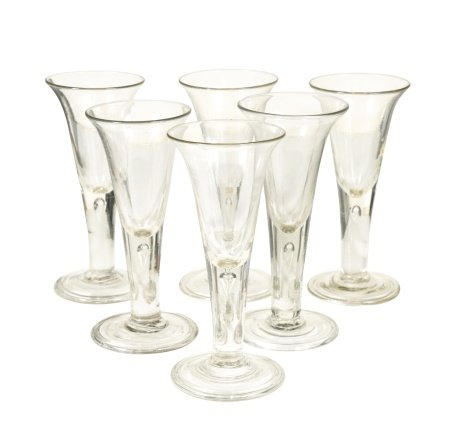 A set of six 18th century drinking glasses,