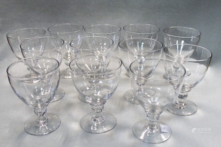 A set of twelve 19th century glass rummers,