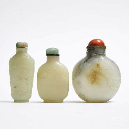 A Group of Three Carved Jade Snuff Bottles, 玉雕鼻烟壶一组三件, height 3.1 in — 8 cm (3 Pieces)