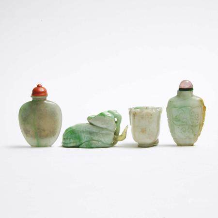 Two Jadeite Snuff Bottles, together with Two Jadeite Carvings, 19th/20th Century, 十九/二十世纪 翡翠鼻烟壶 佛手瓶