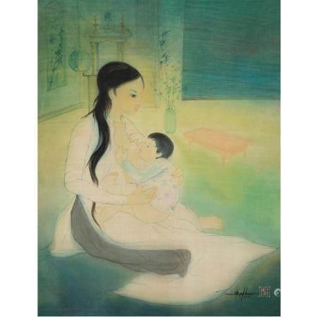ÉCOLE VIETNAMIENNE (XXE SIÈCLE)MATERNITÉ)Peinture verticale à l'encre et polychromie sur soie,