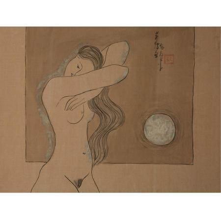 ÉCOLE VIETNAMIENNE (XXE SIÈCLE)JEUNES FEMMES NUES À LEUR TOILETTETrois peintures horizontales,