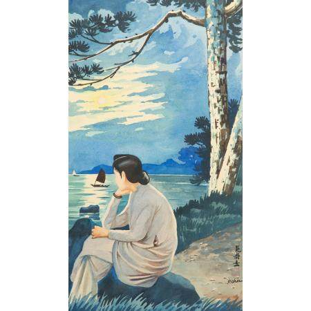 ÉCOLE VIETNAMIENNE (XXE SIÈCLE)Suite de quatre aquarelles sur papier, représentant deux vues de