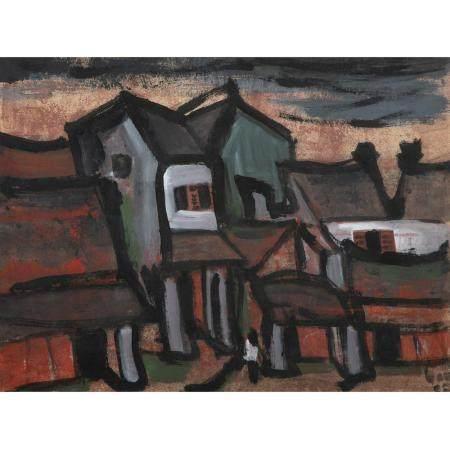 ÉCOLE VITENAMIENNE (XXE SIÈCLE)Gouache sur papier, représentant des maisons de village, une sil