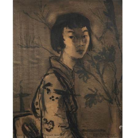 BERNARD LAMOTTE (1903-1983)JEUNE FILLE DE KYOTOYOUNG GIRL FROM KYOTOLavis sur papier, signé en