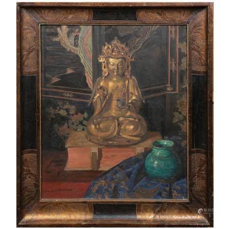 ÉMILE MARIE BEAUME (1888-1967)NATURE MORTE AU BODHISATTVAHuile sur toile, signée en bas à gauch