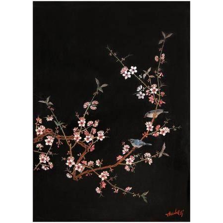 MAISON THÀNH LÊ (1919-2003)Panneau vertical laqué, à décor polychrome sur fond noir, de deux oi