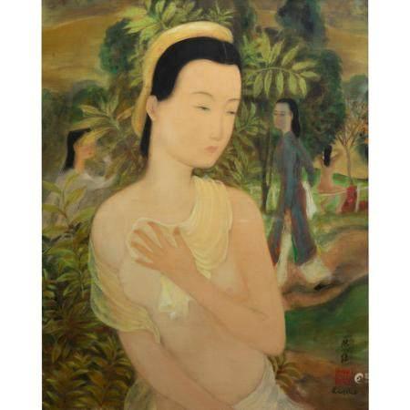 LÊ PHÔ (1907-2001)APRÈS LE BAINEncre et gouache sur soie, signée en bas à droite.(Dans un encad