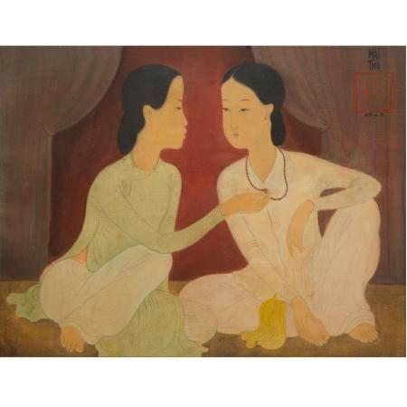 """MAI TRUNG THU (1906-1980)CONFIDENCE, 1943Encre et gouache sur pongé de soie, signée et datée """"1"""