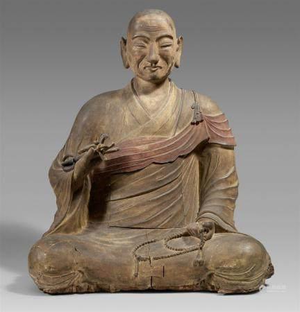 Une grande figure en bois de Kobo Daishi. Période Heian ou Kamakura et plus tard  Assis en médi