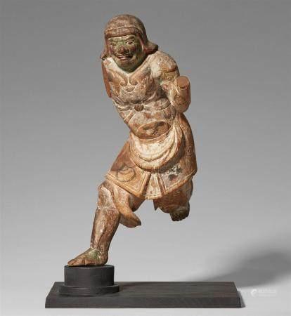 Une figure en bois d'Idaten. XIVe siècle   Debout sur une jambe en courant, portant une armure