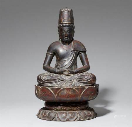 Figure en bois laqué et doré d'un Bosatsu. XVIe siècle  Assis en méditation sur un lotus séparé
