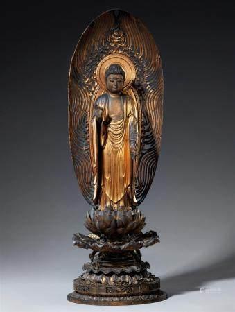 Figure d'Amida Nyorai en bois laqué et doré. Période Edo, probablement fin du XVIIe siècle  Deb