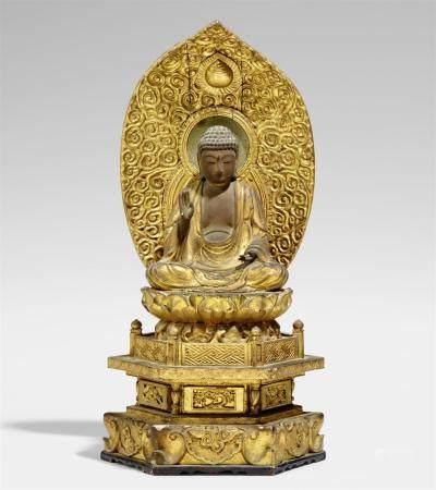 Figure d'Amida Nyorai en bois laqué et doré. Fin du 17ème/18ème siècle  Assis en méditation sur