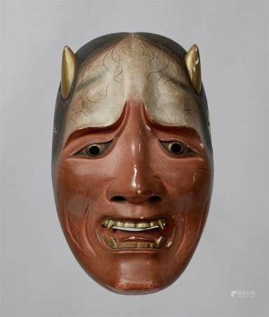 Un bois peint sans masque de type Namanari. Période Edo  Masque d'un démon femelle au visage lo