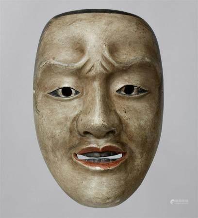 Un bois peint sans masque de type Waka-otoko. Période Edo  Masque d'un jeune homme avec des sou
