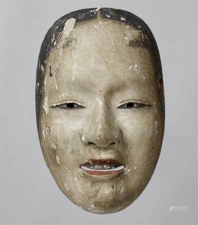Un bois peint sans masque de type Zo-onna, période Edo  Masque d'une jeune femme aux yeux étroi