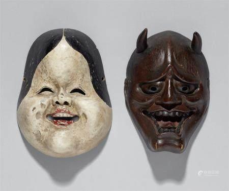Un masque kyogen et un autre masque. Bois, laque et pigments. XVIIIe et XIXe siècles  a) Okame,