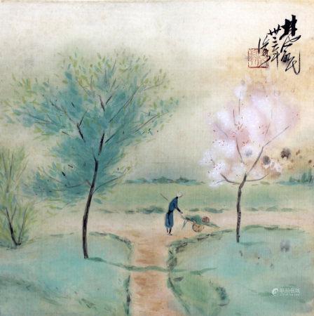 林凤眠 乡边小景