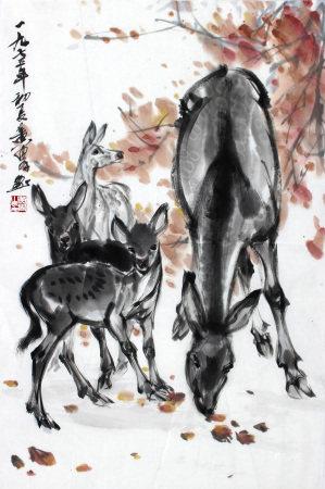 黄胄 枫叶鹿影