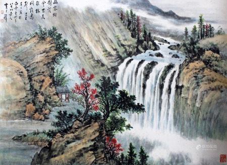 黄君璧 观瀑图
