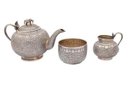 A Three-Piece Indian Silver Tea Set