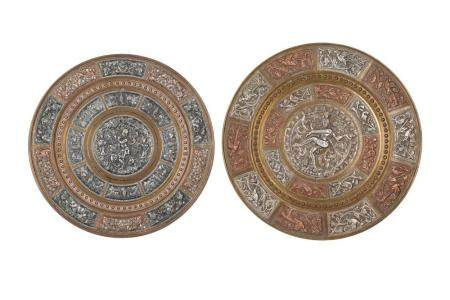 Two Copper and Silver-Overlaid Dishes