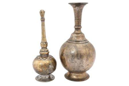 An Indian Brass Vase and Rosewater Sprinkler