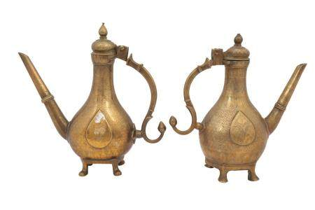 A Near Pair of Engraved Miniature Brass Ewers (Aftabeh)