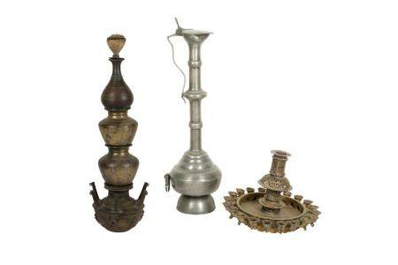 Two Copper-Alloy Oil Lamps and a Monumental High-Neck Tinned Ewer