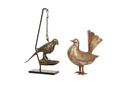 A Hanging Parrot-shaped Bronze Incense Burner and an Ornamental Qajar Steel bird