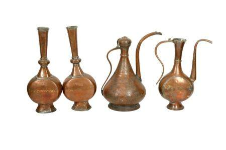 A Group of Tinned Copper Ewers and Bottles