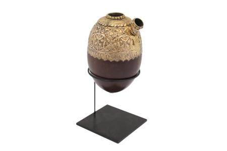 A Silver-Gilt Coconut Portable Qalyan (waterpipe) Base