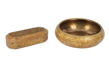 A Gilt Lacquered Kashmiri Pen Box and Bowl