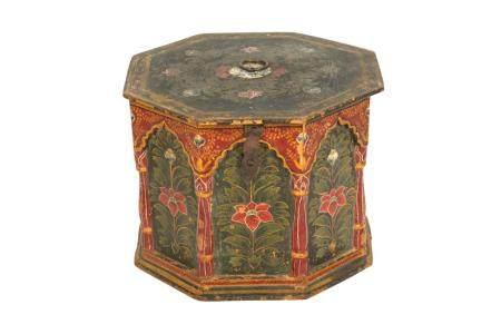 A Kashmiri Polychrome-Painted Octagonal Box