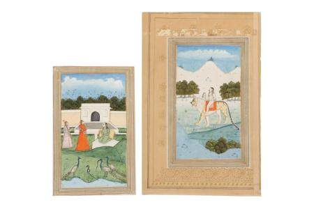 A Sadhu Riding a Tiger in the Wilderness and a Courtly Lady in a Palatial Garden