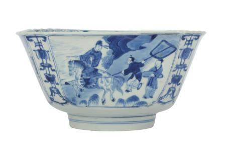 A Chinese porcelain blue and white square bowl, Kangxi