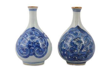 Two Chinese blue and white bottle vases
