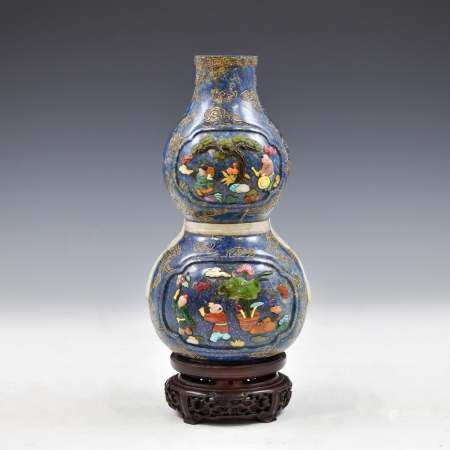 Qing Dynasty LAPIS LAZULI DOUBLE GOURD VASE & STONES INLAID ON STAND